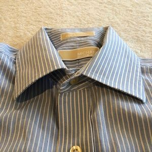 🎁 Michael Kors Blue & White Collared Button Down